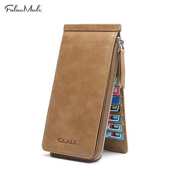 Genuine Leather Card Holder Wallet Men Male Wallet Zipper Leather Wallet Purse Phone Pocket Men Purse Male Long Purse