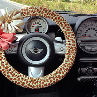 Car Steering Wheel Cover Girrafe Print With Removable Chiffon Flowers Unique Automobile Accessories