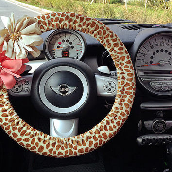 Car Steering wheel cover-Girrafe Print with Removable Chiffon Flowers, Unique Automobile Accessories, Car Decor, Automobile Wheel cover