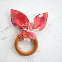 Wooden Teether in Seville Beaded Yellow
