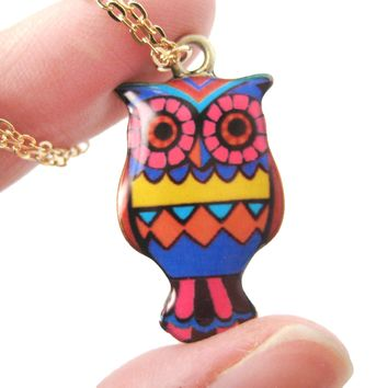Owl Bird Shaped Aztec Print Illustrated Resin Pendant Necklace | DOTOLY