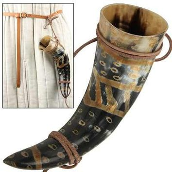 Snakeskin Medieval Drinking Horn with Leather String Holder