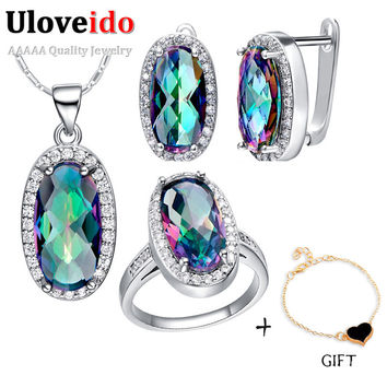Uloveido Fashion African Bijouterie 925 Sterling Silver Dubai Indian Bridal Earrings Necklace Ring Jewelry Sets Female Gift T482
