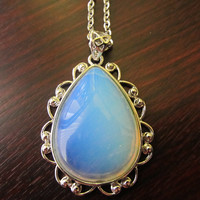 Light Blue Clear Color Pendant Silver Chain Necklace