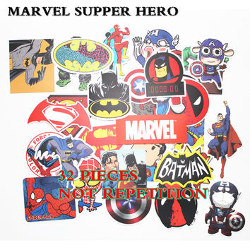 32PCS HOT MARVEL Super Hero Stickers for kids laptop decal fridge skateboard Batman Superman Hulk Iron Man sticker toy stickers