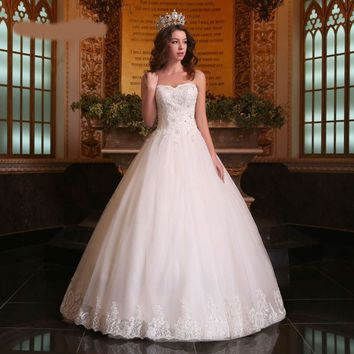 Luxury Wedding Dresses Newest Sweetheart Puffy Beading Appliques Lace up Wedding Ball Gowns