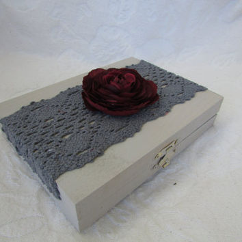 Grey and Burgundy Wedding Ring Bearers Box Divided HIS HERS