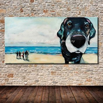 Hand Painted Canvas Oil Painting Modern Abstract Palette Knife Beach And Dog Wall Art Pictures For Living Room Home Decoration