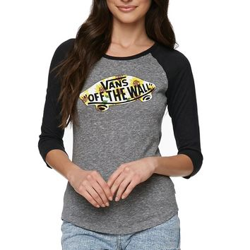 Vans Sunflower Raglan T-Shirt - Womens Tee - Grey Heather/Black