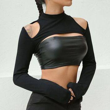 2018 Sexy Women Shoulder Cut Out T Shirts Long Sleeve Outwear Navel Bare Cropped Tops Tees Mujer Slim Fitness Short T Shirt