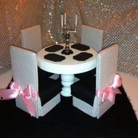 Playscale Furniture for Barbie / Monster High/ Fashion Royalty/ Momoko / J- Dolls  Dining Table & Chairs - Black and White - Get 20% Off