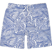 River Island Boys blue hawaiian print swim trunks