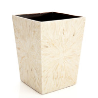 White Almond Veneer Wastebasket, Bathroom Wastebaskets