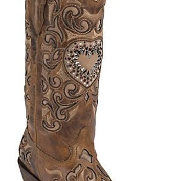 Corral® Ladies Sand Maipo Inlay & Crystal Heart Snip Toe Western Boots