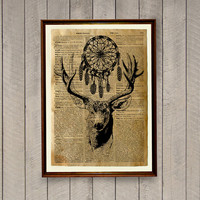 Cabin decor Tribal deer print Stag poster  Animal illustration