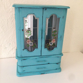 vintage jewelry armoire box,Large shabby chic blue,