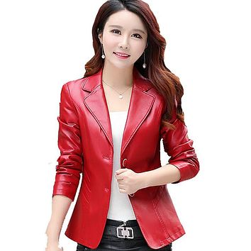 Spring PU Leather Jackets For Women Turn Down Collar Two Buttons Female Jacket Single Breasted Long Sleeve Slim Biker Plus Size
