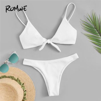 Romwe Sport White Solid Tie Front Ribbed Bikini Set Spaghetti Strap Knot Wireless Swimsuit Women Summer Beach Bathing Suits