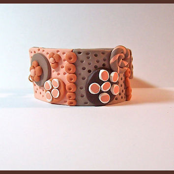 Cuff Bracelet Pumpkin & Chocolate Brown 1 1/4 in. Polymer Clay Hand Crafted 3 Dimensional Textured Magnetic Clasp