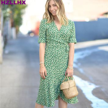 HZLLHX French style green flower print dress sexy V-neck Vintage women ladies Dress Floral Dress super cool fabric hotsale dress