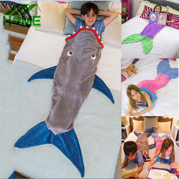 Mermaid Blanket Shark Towel Envelopes for 5-12T Kids Soft Handmade Animal Sleeping Bag Pajamas Overalls Children Quilt Velvet