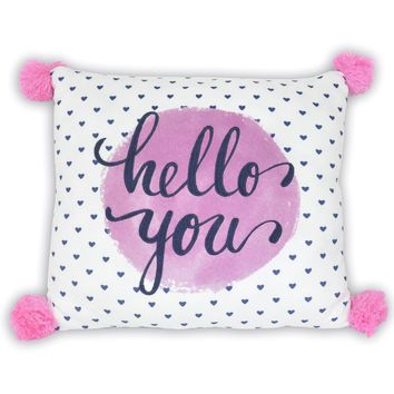 Better Homes and Gardens Kids Hello You Pillow with Pom Pom Multicolor Standard