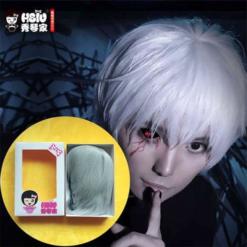 Cool HSIU High Quality Tokyo Ghoul Cosplay Wig Ken Kaneki Costume Play Wigs Halloween party Anime Game Hair 30cm Silver wigAT_93_12