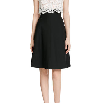 Wool-Silk Dress with Lace - Valentino | WOMEN | US STYLEBOP.COM