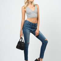 High Waisted Knee Slit Skinny Jeans