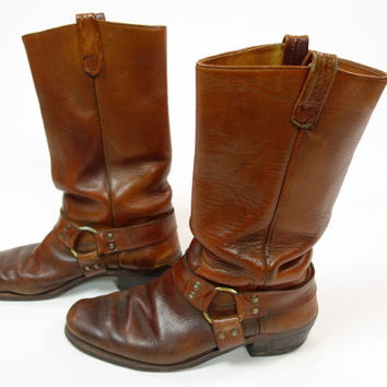 60s 70s brown leather harness boots, pull on motorcycle, cowboy rugged wear, Size 12