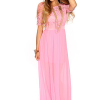 Dusty Pink Crochet Sheer Maxi Dress