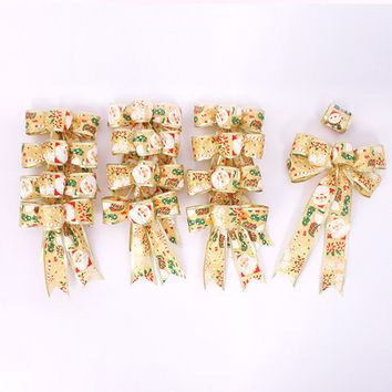14 PCS Merry Christmas Bowknot Decor Christmas Tree Hanging Decoration Xmas Bowknot Ornament [9343536964]