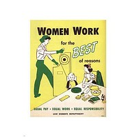 WOMEN equal PAY equal WORK vintage poster United States 1950 24X36 HISTORIC