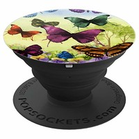Butterflies Watercolors Multi-Colored Flowers - PopSockets Grip and Stand for Phones and Tablets
