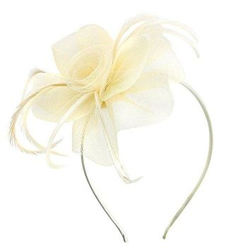Acecharming Fascinators for Women Bridal Derby Hat Tea Party Flower Hats Girls Feather Sinamay Fascinators with Headbands