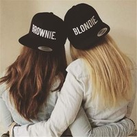 BLONDIE BROWNIE Embroidery  Snapback Hats cotton girlfriend Women