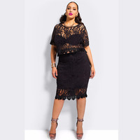 Black Floral Lace Short Sleeve Copped Top and Midi Skirt