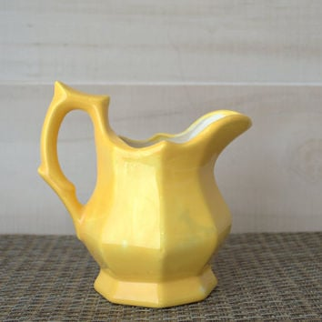 Stoneware Pitcher, Yellow Milk Pitcher, Small Ceramic Jug