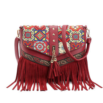 2016 Hot Sale Fashion Women Lady Fringe Weave Tassel Shoulder Messenger Cross Body Satchel Bag Sac A Main Bolsa Feminina Bags