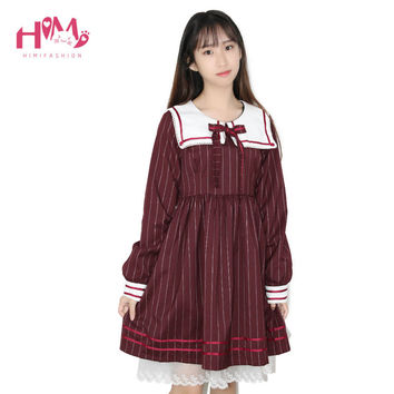 Cute Japanese College School Sailor Collar Cosplay Dress with Tie Long Sleeve JK Retro Dress Ruffle Autumn Pleated Vintage Dress
