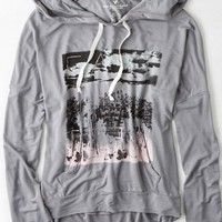 AEO Women's Graphic Hoodie T-shirt (Grey Mist)