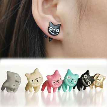 CREYUG3 1pc Mystic Lovely Cute Cat Ear Stud Womens Mens Piercing Earring Alloy Multi-Colors Jewelry