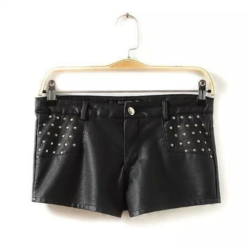 Women's Fashion Rivet PU Leather Pants Autumn Low Waist Shorts [6048825793]