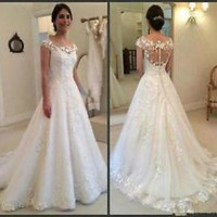 Sheer Back Ivory Wedding Dress with Lace Bridal Dress Custom Size 4 6 8 10 12 14