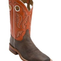 Justin® Bent Rail™ Men's Chocolate w/ Light Orange Top Square Toe Western Boots