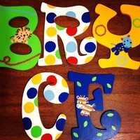 KIDSLINE ANIMAL PARADE INSPIRED HAND PAINTED WOOD WALL LETTERS