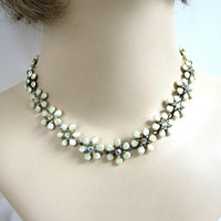 Cream Celluloid & Aurora Borealis Rhinestones Flower Necklace Vintage Mid-Century