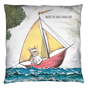 Where the Wild Thing's Are Max's Boat Retro Throw Pillow