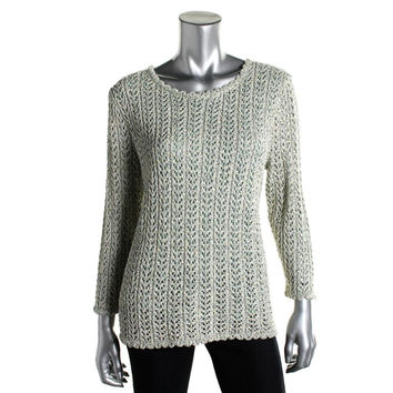 Alfred Dunner Womens Metallic Crochet Tunic Sweater