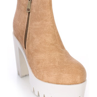 Natural Chunky Platform Heel Ankle Booties Faux Leather